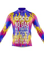 cheap -21Grams Men's Long Sleeve Cycling Jersey Spandex Polyester Purple Gear Funny Bike Top Mountain Bike MTB Road Bike Cycling Quick Dry Moisture Wicking Breathable Sports Clothing Apparel / Athleisure