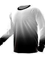 cheap -21Grams Men's Long Sleeve Cycling Jersey Spandex White Polka Dot Gradient Bike Top Mountain Bike MTB Road Bike Cycling Quick Dry Moisture Wicking Sports Clothing Apparel / Athleisure