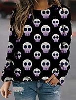 cheap -Women's Sweatshirt Pullover Graphic Prints Ghost Print Halloween Sports 3D Print Active Streetwear Hoodies Sweatshirts  Blue Purple Gray