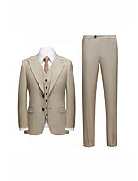 cheap -Men's Wedding Suits 3 pcs Peak Standard Fit Single Breasted Two-buttons Straight Flapped Striped Fiber