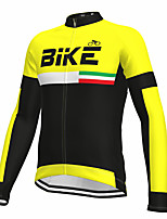 cheap -21Grams Men's Long Sleeve Cycling Jersey Spandex Polyester Yellow Color Block Fluorescent Funny Bike Top Mountain Bike MTB Road Bike Cycling Quick Dry Moisture Wicking Breathable Sports Clothing