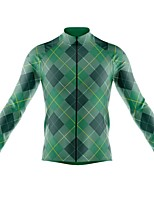 cheap -21Grams Men's Long Sleeve Cycling Jersey Spandex Polyester Blue+Green Green Funny Bike Top Mountain Bike MTB Road Bike Cycling Quick Dry Moisture Wicking Breathable Sports Clothing Apparel / Stretchy