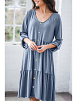 cheap -Women's A Line Dress Knee Length Dress Gray blue Black Brown 3/4 Length Sleeve Solid Color Ruched Ruffle Spring Summer V Neck Basic Casual Holiday Loose 2021 S M L XL / Cotton