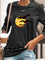 cheap -Women's Halloween Abstract Painting T shirt Graphic Long Sleeve Print Round Neck Basic Halloween Tops Cotton Blue Yellow Gray