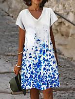 cheap -Women's A Line Dress Knee Length Dress Blue Short Sleeve Floral Print Summer V Neck Casual 2021 S M L XL XXL 3XL