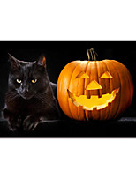 cheap -Halloween Wall Art Canvas Prints Painting Artwork Picture Pumpkins and Cat Home Decoration Decor Stretched Frame Ready to Hang