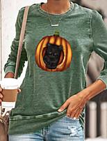 cheap -Women's Halloween 3D Cat Painting T shirt Cat 3D Pumpkin Long Sleeve Print Round Neck Basic Halloween Tops Cotton Blue Yellow Gray