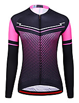 cheap -21Grams Women's Long Sleeve Cycling Jersey Spandex Rose Red Polka Dot Bike Top Mountain Bike MTB Road Bike Cycling Quick Dry Moisture Wicking Sports Clothing Apparel / Stretchy / Athleisure