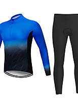 cheap -21Grams Men's Long Sleeve Cycling Jersey with Tights Summer Spandex Blue Bike Quick Dry Moisture Wicking Sports Patterned Mountain Bike MTB Road Bike Cycling Clothing Apparel / Stretchy / Athletic