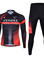 cheap -Men's Long Sleeve Cycling Jersey with Tights Spandex Black / Red Bule / Black Stripes Bike Quick Dry Sports Stripes Mountain Bike MTB Road Bike Cycling Clothing Apparel / Stretchy / Athletic