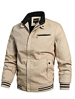 cheap -Men's Bomber Jacket Hiking Windbreaker Military Tactical Jacket Cotton Outdoor Solid Color Thermal Warm Windproof Lightweight Breathable Outerwear Winter Jacket Trench Coat Skiing Hunting Fishing