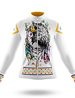 cheap -21Grams Women's Long Sleeve Cycling Jersey Spandex Polyester White Floral Botanical Eagle Funny Bike Top Mountain Bike MTB Road Bike Cycling Quick Dry Moisture Wicking Breathable Sports Clothing