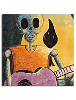 cheap -Halloween Skeleton Oil Painting Handmade Hand Painted Wall Art Asbtract Human Skeleton Home Decoration Decor Stretched Frame Ready to Hang