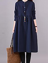 cheap -Women's A Line Dress Knee Length Dress Blushing Pink Khaki Navy Blue Long Sleeve Solid Color Ruched Fall Winter V Neck Casual 2021 M L XL XXL