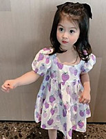 cheap -kids purple strawberry printed dresses girls puff sleeve princess dress summer children cotton beach holiday clothings q0183