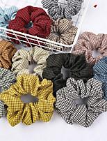 cheap -18 Pcs/set Retro Fine Plaid Large Intestine Hairband Simple Cloth Plaid Headband With Horsetail Hairband Headdress