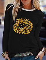 cheap -Women's Floral Theme Cat Painting T shirt Plants Cat Animal Long Sleeve Print Round Neck Basic Tops Cotton Blue Yellow Blushing Pink