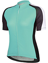 cheap -21Grams Women's Short Sleeve Cycling Jersey Summer Spandex Green Color Block Bike Top Mountain Bike MTB Road Bike Cycling Quick Dry Moisture Wicking Sports Clothing Apparel / Stretchy / Athleisure