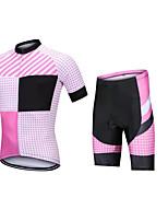 cheap -CAWANFLY Men's Short Sleeve Cycling Jersey with Shorts Summer Pink / Black Bike Sports Geometic Mountain Bike MTB Road Bike Cycling Clothing Apparel / Micro-elastic / Athleisure / Triathlon