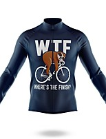 cheap -21Grams Men's Long Sleeve Cycling Jersey Spandex Polyester Dark Navy Funny Sloth Bike Top Mountain Bike MTB Road Bike Cycling Quick Dry Moisture Wicking Breathable Sports Clothing Apparel / Stretchy