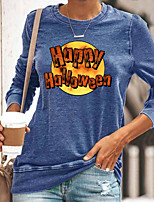 cheap -Women's Halloween Abstract Painting T shirt Graphic Text Long Sleeve Print Round Neck Basic Halloween Tops Cotton Blue Yellow Gray
