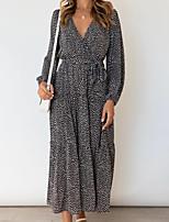 cheap -Women's Swing Dress Maxi long Dress Black Long Sleeve Flower Ruffle Patchwork Spring Summer V Neck Elegant Casual 2021 S M L XL