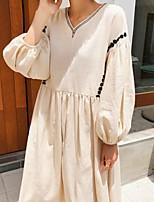 cheap -Women's A Line Dress Maxi long Dress Black Apricot 3/4 Length Sleeve Solid Color Modern Style Fall Summer V Neck Casual 2021 S M L XL XXL XXXL