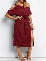 cheap -Women's Shift Dress Midi Dress Red Wine Green Black Half Sleeve Solid Color Split Elastic Waistband Hollow Out Spring Summer One Shoulder Basic Casual 2021 XS S M L XL XXL