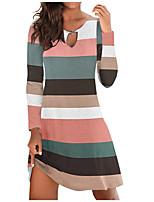 cheap -Women's A Line Dress Short Mini Dress Green Light Blue Long Sleeve Striped Print Fall Round Neck Casual 2021 S M L XL XXL 3XL