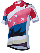 cheap -21Grams Men's Short Sleeve Cycling Jersey Summer Spandex Polyester White Color Block Stars Funny Bike Top Mountain Bike MTB Road Bike Cycling Quick Dry Moisture Wicking Breathable Sports Clothing