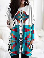 cheap -Women's T Shirt Dress Tee Dress Short Mini Dress Blue Long Sleeve Geometric Pocket Print Fall Winter Round Neck Casual 2021 S M L XL XXL 3XL