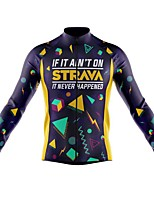 cheap -21Grams Men's Long Sleeve Cycling Jersey Spandex Polyester Dark Blue Funny Bike Top Mountain Bike MTB Road Bike Cycling Quick Dry Moisture Wicking Breathable Sports Clothing Apparel / Stretchy