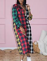 cheap -Women's Shirt Dress Maxi long Dress Rainbow Long Sleeve Plaid Print Fall Shirt Collar Casual 2021 S M L XL XXL