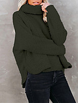 cheap -Women's Pullover Sweater Classic Style Solid Color Stylish Casual Long Sleeve Loose Sweater Cardigans High Neck Fall Winter Camel Black Army Green