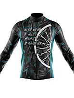 cheap -21Grams Men's Long Sleeve Cycling Jersey Spandex Polyester Blue Orange Black 3D Geometic Funny Bike Top Mountain Bike MTB Road Bike Cycling Quick Dry Moisture Wicking Breathable Sports Clothing