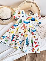 cheap -Kids Little Girls' Dress Rainbow Photo Color Short Sleeve Fashion Cute Dresses Summer