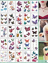 cheap -30Pcs/set No Repeat Temporary Tattoo Stickers Waterproof Arm Clavicle Body Art Sticker Disposable Butterfly Tatouage Temporaire
