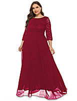 cheap -A-Line Elegant Vintage Wedding Guest Formal Evening Dress Jewel Neck 3/4 Length Sleeve Floor Length Lace Tulle with Lace Insert 2021