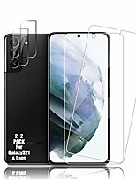 cheap -galaxy s21 tempered glass screen protector + camera lens protector [ 2 + 2 pack ][case friendly] [anti-scratch] [ultrasonic fingerprint unlock] clear hd protective film for samsung galaxy s21