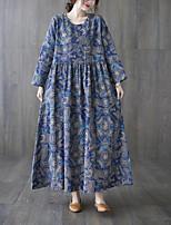 cheap -Women's Shift Dress Maxi long Dress Blue Long Sleeve Floral Print Ruched Pocket Fall Round Neck Casual 2021 M L XL XXL