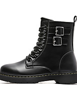 cheap -Women's Boots Flat Heel Round Toe Mid Calf Boots Daily Work Leather Solid Colored Black