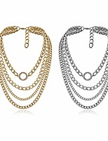 cheap -punk rock metal thick chunky choker chain multi layered adjustable length necklace stackable layered oval cuban collar statement clavicle necklace for women men party gifts jewelry-b