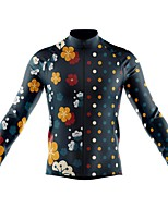 cheap -21Grams Men's Long Sleeve Cycling Jersey Spandex Polyester Dark Navy Dot 3D Funny Bike Top Mountain Bike MTB Road Bike Cycling Quick Dry Moisture Wicking Breathable Sports Clothing Apparel / Stretchy