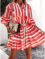 cheap -Women's A Line Dress Short Mini Dress Blue Black Red 3/4 Length Sleeve Stripes Geometic Lace up Print Spring Summer Y Neck Casual Bohemia 2021 S M L XL 2XL / Cotton