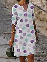 cheap -Women's A Line Dress Knee Length Dress Purple Gray Green Half Sleeve Polka Dot Print Summer V Neck Casual 2021 S M L XL XXL 3XL 4XL 5XL