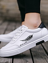 cheap -Men's Sneakers Lace up Casual Classic Chinoiserie Daily Outdoor PU Waterproof Non-slipping Wear Proof Black and White Black Black / Blue Fall