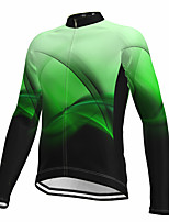 cheap -21Grams Men's Long Sleeve Cycling Jersey Spandex Green Gradient Fluorescent Bike Top Mountain Bike MTB Road Bike Cycling Quick Dry Moisture Wicking Sports Clothing Apparel / Athleisure