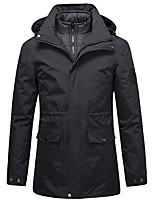 cheap -Men's Hiking Down Jacket Hiking 3-in-1 Jackets Ski Jacket Winter Outdoor Thermal Warm Windproof Lightweight Breathable Outerwear Windbreaker Trench Coat Skiing Fishing Climbing Male black Male Army