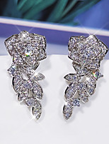 cheap -Women's AAA Cubic Zirconia Earrings Chandelier Petal Luxury Elegant Korean Sweet Earrings Jewelry Silver For Wedding Party Evening Birthday Promise Festival 1 Pair