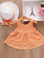 cheap -Kids Little Girls' Dress Solid Color Orange Red Violet Sleeveless Cute Dresses Summer